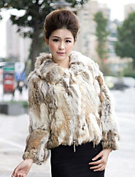 Long Sleeve Turndown Rabbit Fur Casual Jacket