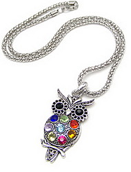 Unique Alloy With Rhinestone Owl Women's Necklace