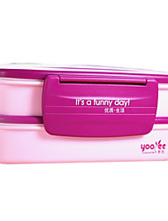 Stile Giapponese ispessimento Eco-Friendly Plastic Double Layer Lunch Box (colore casuale)
