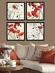 Skinny Stem Floral Framed Canvas Print Set of 4