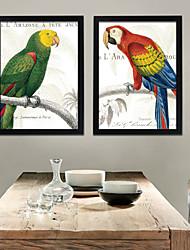 Floral/Botanical / Animal Framed Canvas / Framed Set Wall Art,PVC Black No Mat With Frame Wall Art