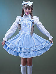 One-Piece/Dress / Maid Suits Sweet Lolita Lolita Cosplay Lolita Dress White / Pink Solid / Bowknot Long Sleeve Medium LengthDress /