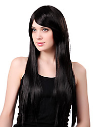 Capless Long Synthetic Black Straight Hair Wig Side Bang