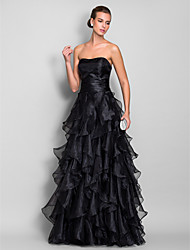 Formal Evening/Prom/Military Ball Dress - Black Plus Sizes A-line Sweetheart Floor-length Organza