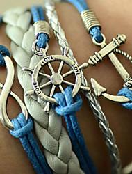 Mode Multi Lagen Lederen Anker armband