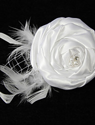 Elegant Satin Net Yarn With Feather Rhinestone Pearl Women's Corsage Brooch