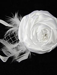 Elégant Fil satin net avec le corsage de broche de plume perle de Rhinestone femmes
