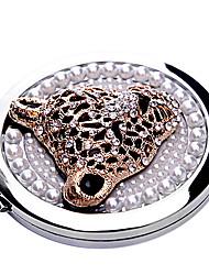 Leopard Pérola maquiagem Espelho de bolso