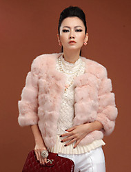 3/4 Sleeve Collarless Rabbit Fur Party/Casual Jacket