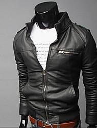 Casaco Couro Moda slim Zipper curto PU de DAYD Homens (Acessórios de estilo, modelo, tamanho, cor aleatória) (Preto)