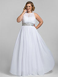 Homecoming Formal Evening/Prom/Military Ball Dress - White Plus Sizes Sheath/Column High Neck Floor-length Chiffon