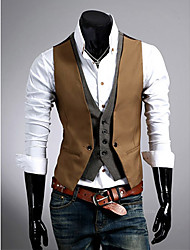 Men'S Slim Faux Two Piece Vest