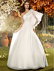 Lanting Bride® A-line Petite / Plus Sizes Wedding Dress - Classic & Timeless / Elegant & Luxurious Floor-length One Shoulder Chiffon with