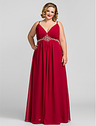 TS Couture® Prom / Formal Evening / Military Ball Dress - Open Back Plus Size / Petite A-line V-neck Floor-length Chiffon withCrystal Detailing