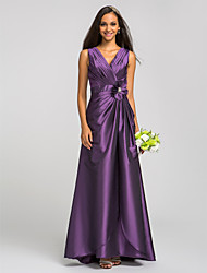 Sheath/Column V-neck Floor-length Taffeta Bridesmaid Dress