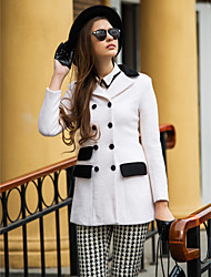 TS Double Breatsed Contrast Pockets Tailored Collar Coat