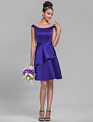 Lanting Bride® Knee-length Satin Bridesmaid Dress A-line Off-the-shoulder Plus Size / Petite with Ruffles / Sash / Ribbon
