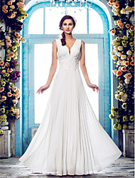 Sheath / Column Plunging Neckline Floor Length Chiffon Wedding Dress with Beading Appliques Draped by LAN TING BRIDE®