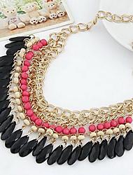 Femme Collier court /Ras-du-cou Goutte Alliage Mode Bohême Style Folk Noir Orange Rouge Rose Vert Bijoux Pour Mariage Soirée 1pc
