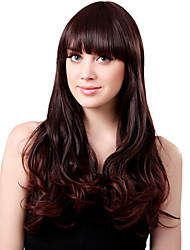 Capless Long Synthetic Brown Curly Hair Wig Full Bang