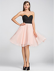 TS Couture Cocktail Party Homecoming Wedding Party Dress - Short A-line Sweetheart Knee-length Chiffon with Pleats