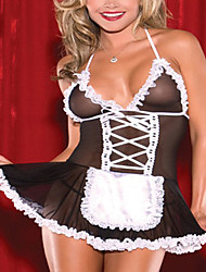 Ultra Sexy Girl Black Transparent Maid Uniform