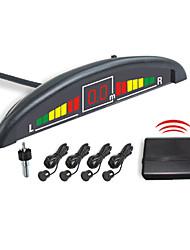 4 Capteur Parking Radar Wireless System-affichage LED et Buzzer Alarm (Blanc, Noir, Argent)
