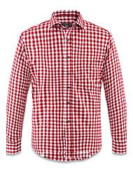Rouge, Blanc, Motif à carreaux poncés 20% Coton 80% tergal Mens Casual Shirt