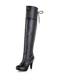 Women's Spring / Fall / Winter Heels / Fashion Boots Leatherette Dress Stiletto Heel Lace-up Black / Brown / Yellow