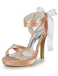 cetim de casamento ocasião stiletto bombas de saltos e sandálias e plataformas com bowknot (mais cores)