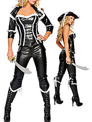 Costume d'Halloween sexy de pirate Black PU cuir Vêtements femmes