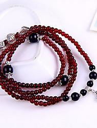 Natural 47cm Garnet Beads Rosary Bracelet Jewelry B356 Plum