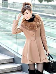 Cuello de piel de oscilación Escudo Tweed Moda LEECOO Mujeres
