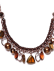 Europe Style Bead Brown Alloy Statement Necklace