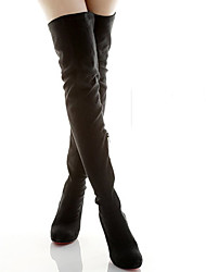 MDQC Women's Black Suede Fit Platform Over The Knee Boots