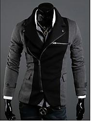 KICAI Herren Unregelmäßige Reißverschluss Design Splicing Farbe dünne Anzug (Dunkelgrau)