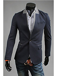 OHFZ Men's Navy Blue Color Contrast One Button Suit
