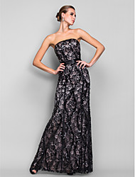 Homecoming Formal Evening/Military Ball Dress - Black Trumpet/Mermaid Strapless Floor-length Sequined