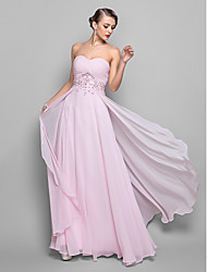 A-line Plus Sizes/Hourglass/Pear/Misses/Petite/Apple/Inverted Triangle/Rectangle Mother of the Bride Dress - Blushing Pink Floor-length