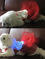 Elegante USB Rechargeable RC diodo emissor de luz do vestido de casamento de incandescência para cães Animais de estimação (tamanhos variados)