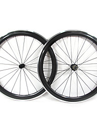 Farsports-700c Road 50mm Carbon Clincher Road Bicycle Wheels with Alloy Brake
