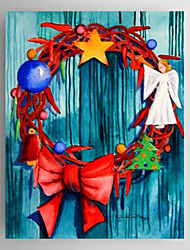 Christmas Holiday Gift Oil Painting Christmas Wreath Ready to Hang