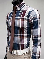 D2P Elegant Check Pattern Long Sleeve Cotton Shirt