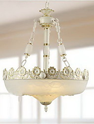 Korean Style Pastorale 3 Light Chandelier With Flower Decoration
