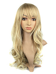 Capless Kanekalon Fiber Bang Long Golden Curly Hair Wig For Women's