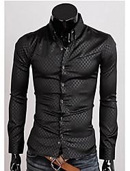 Fit franja oscura de la camisa de manga larga Negro FSNZ Hombres