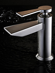 Contemporary Nickel Brushed Finish Single Handle Bathroom Sink Faucets