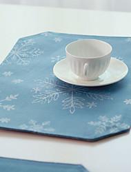 """Set de table, Polyester/Blue/12 """"* 18"""", série de Noël"""
