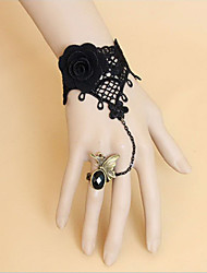 Handmade Black Lace and Flower Classic Lolita Ring Bracelet
