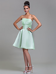 Lanting Bride® Knee-length Satin Bridesmaid Dress - A-line Strapless Plus Size / Petite with Draping / Ruching